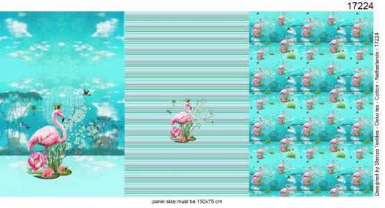 Flamingo Aqua Tricot Paneel - Stenzo