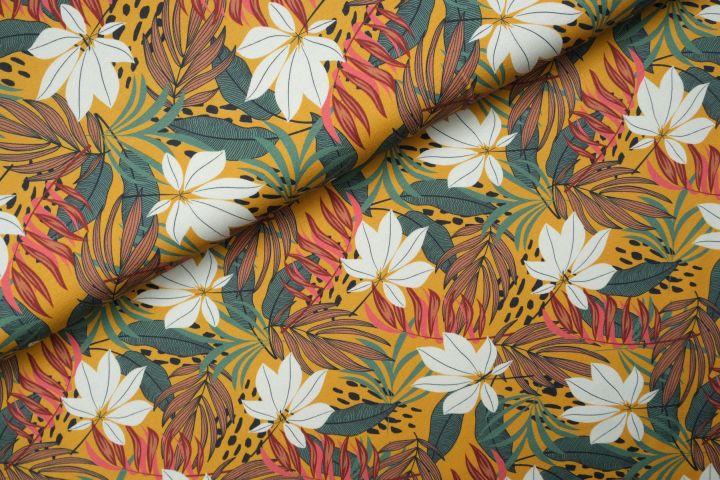 Jungle Leaves Tricot Oker - Megan Blue Fabrics
