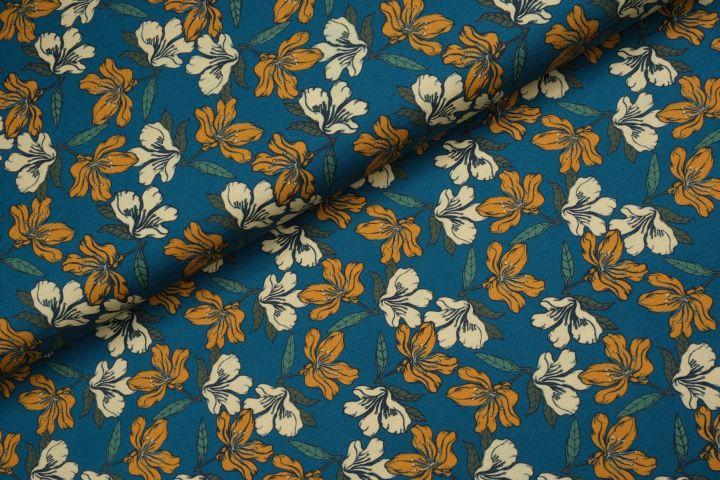 Poppy Flowers Tricot Jeans - Megan Blue Fabrics