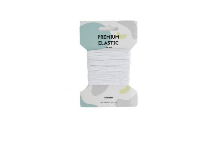Premium Elastiek 8mm Wit 5 m