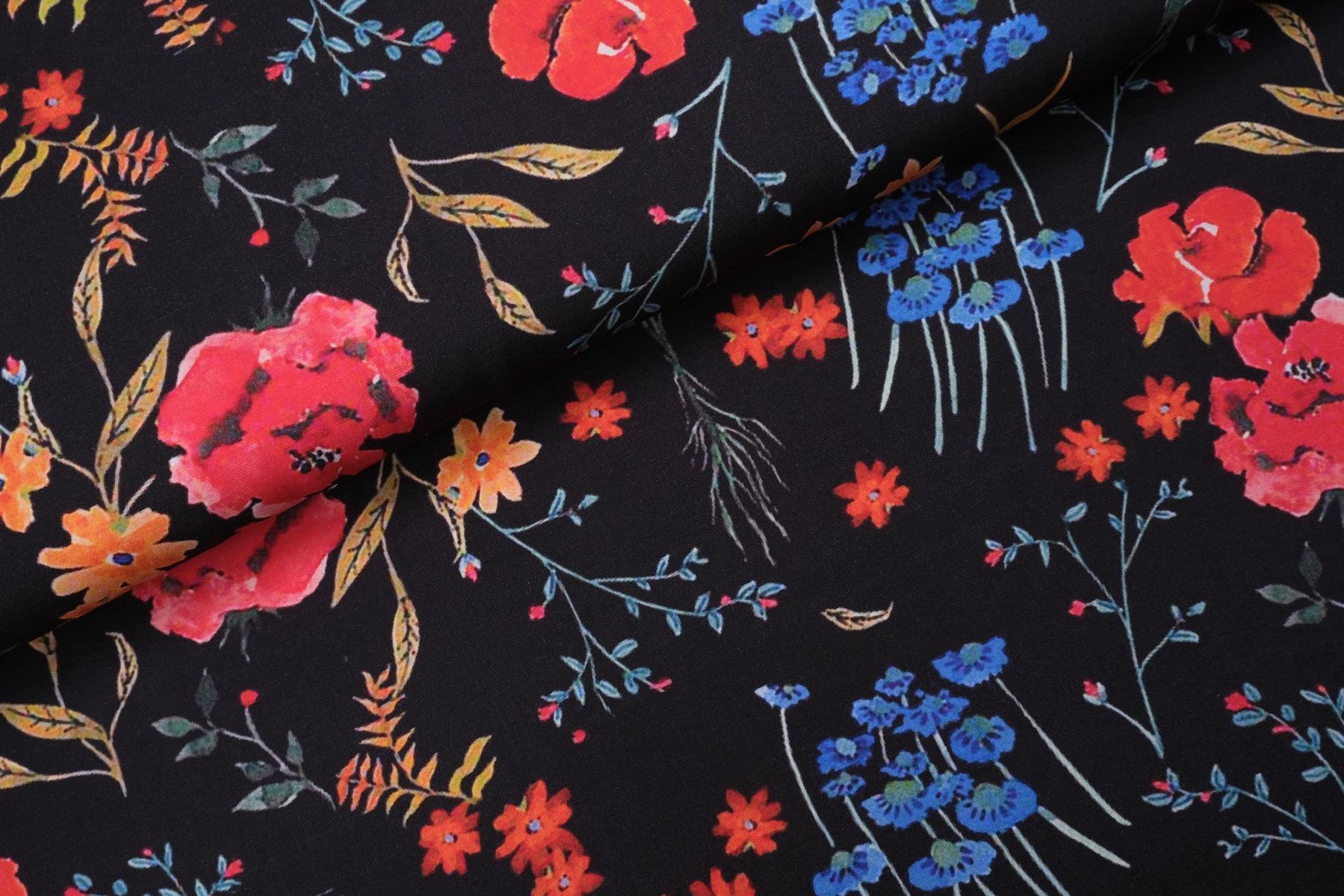 Wild Flower Viscose Zwart