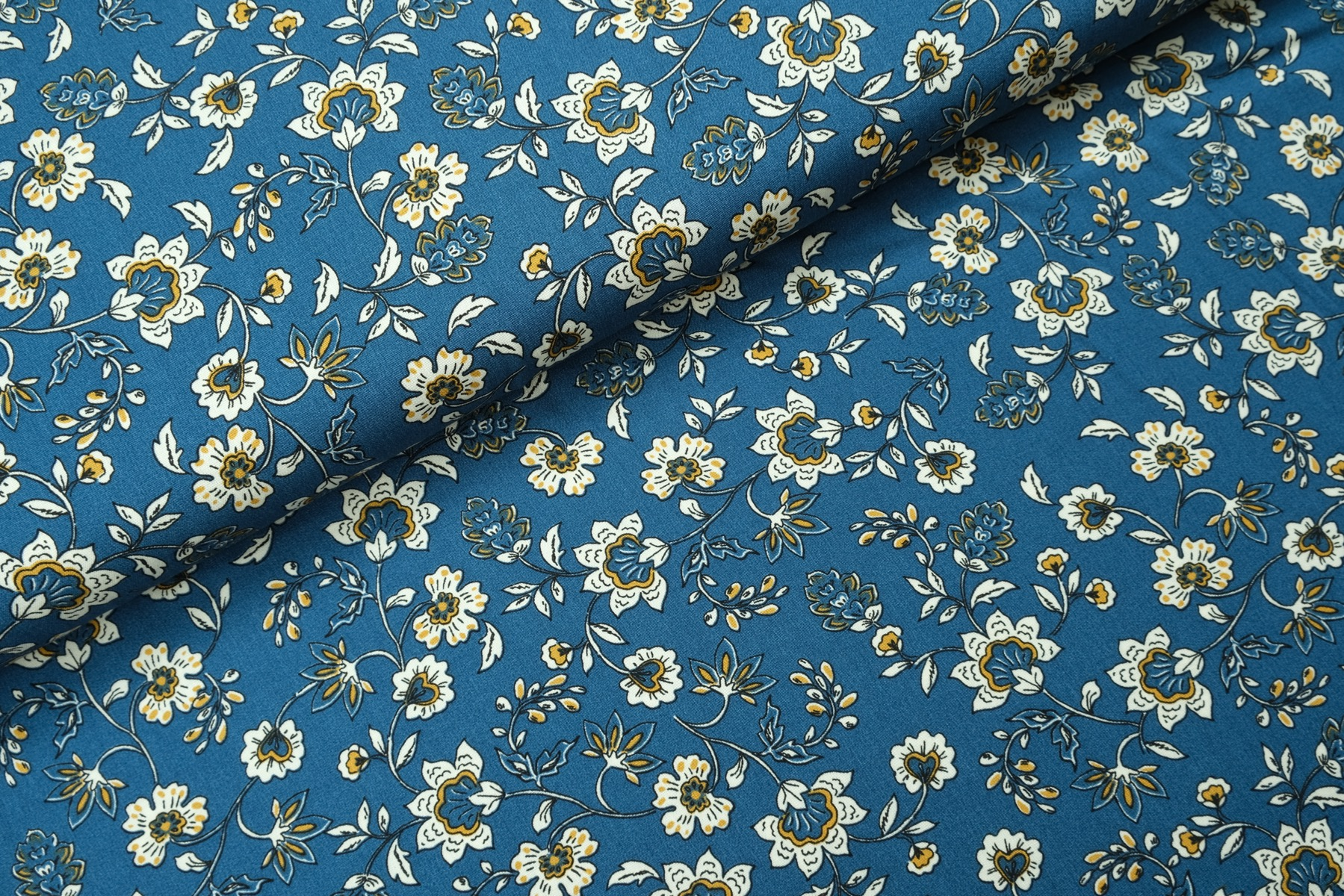 Flory Flower Viscose Blauw