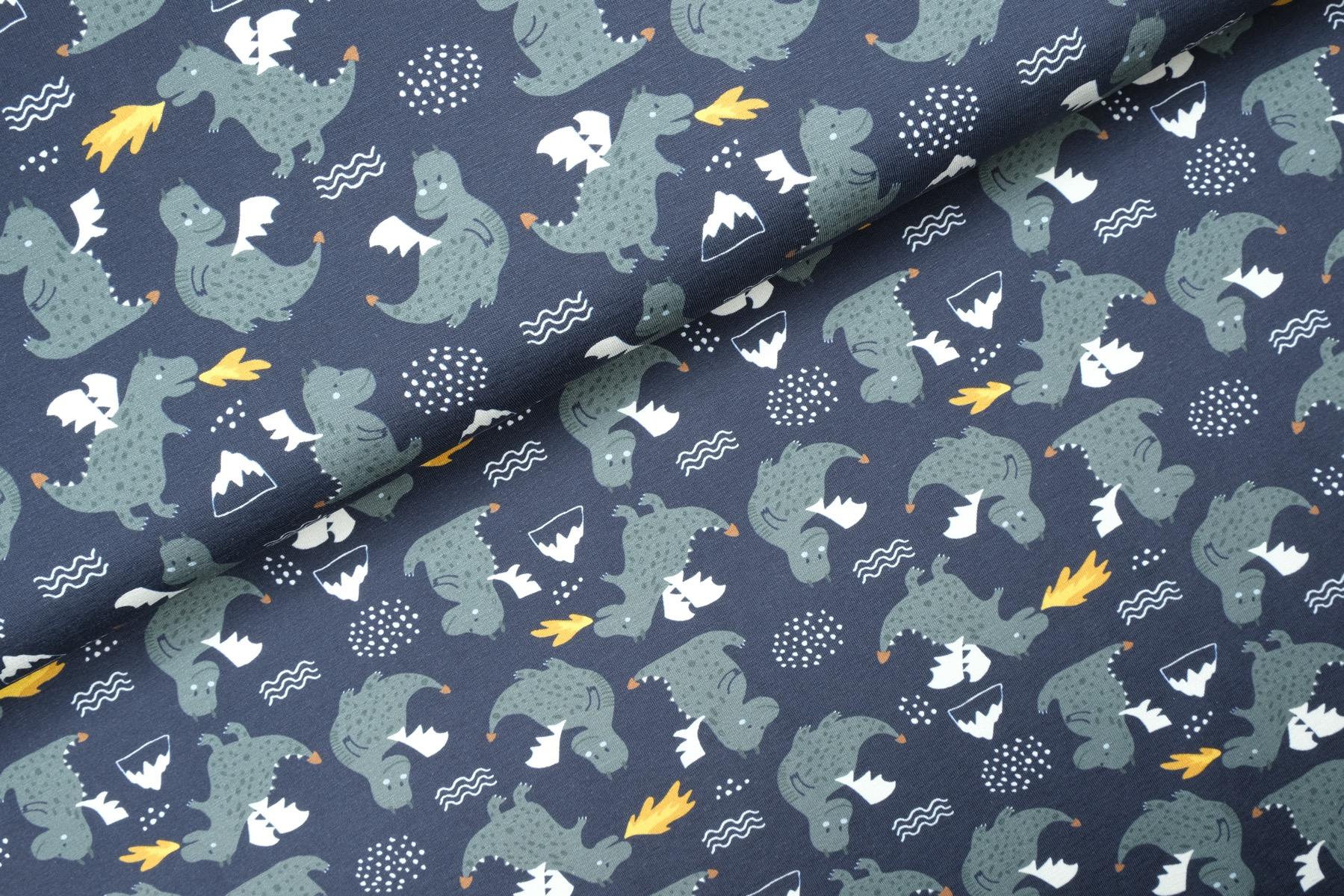 Little Dragons Tricot Navy - Megan Blue Fabrics