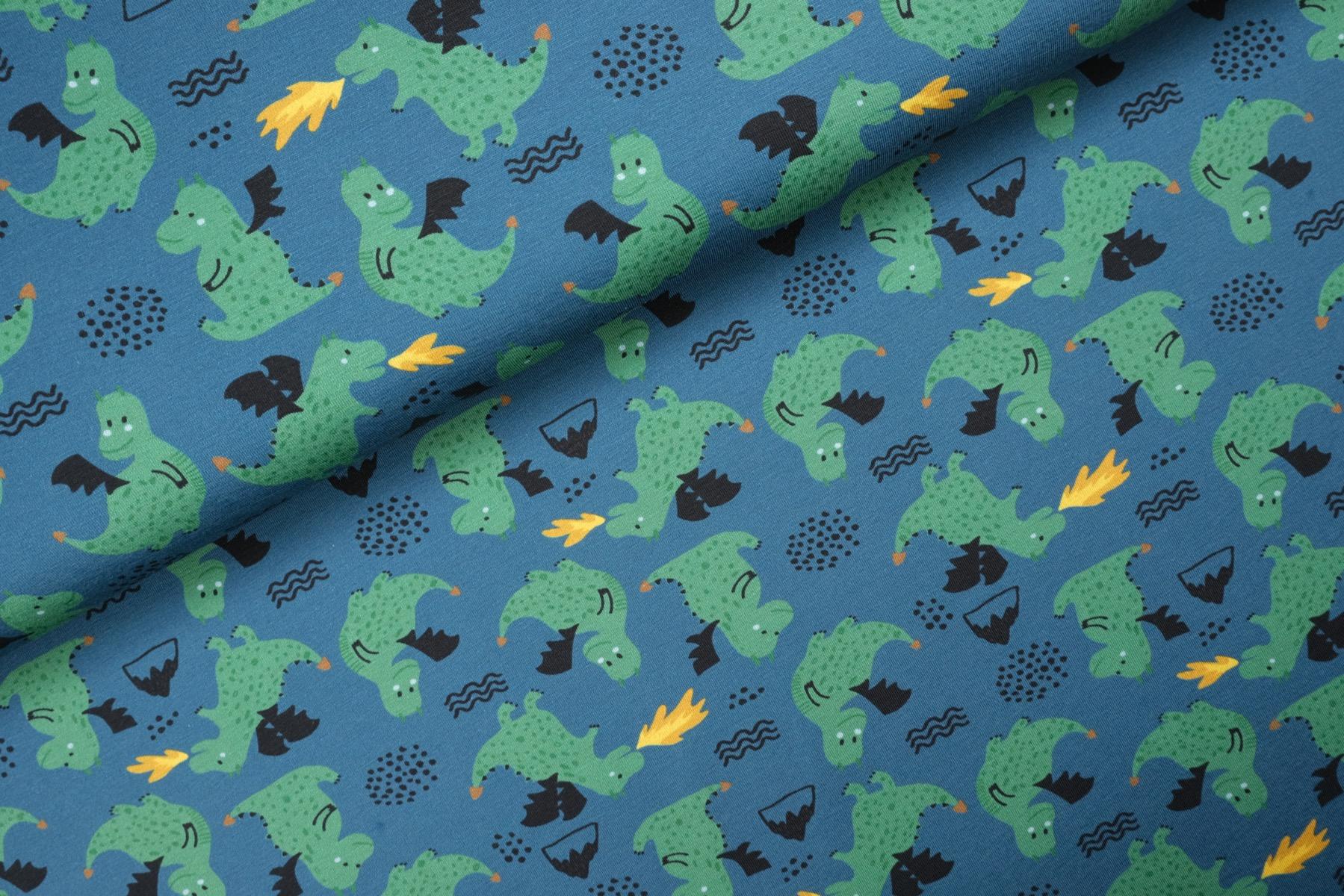Little Dragons Tricot Jeans - Megan Blue Fabrics