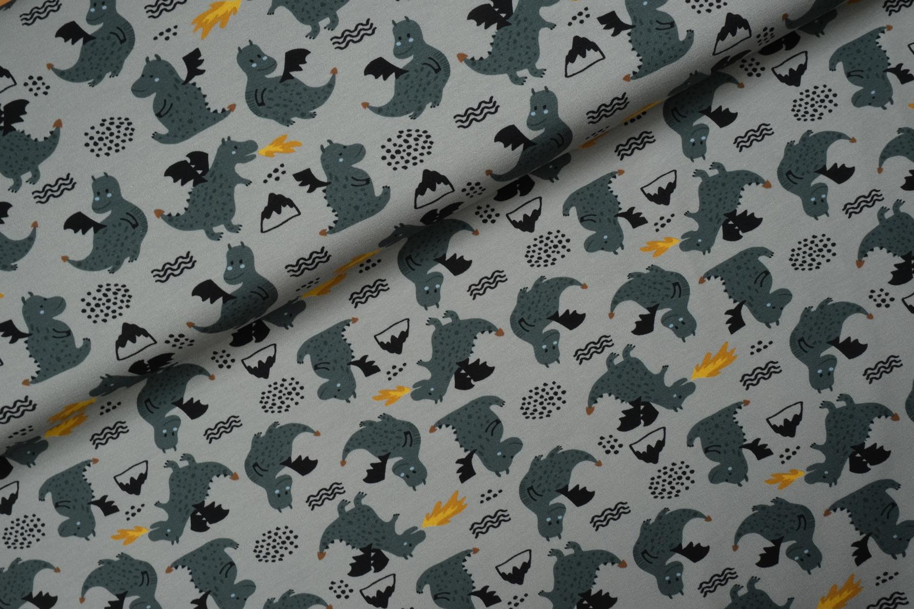 Little Dragons Tricot Grijs - Megan Blue Fabrics