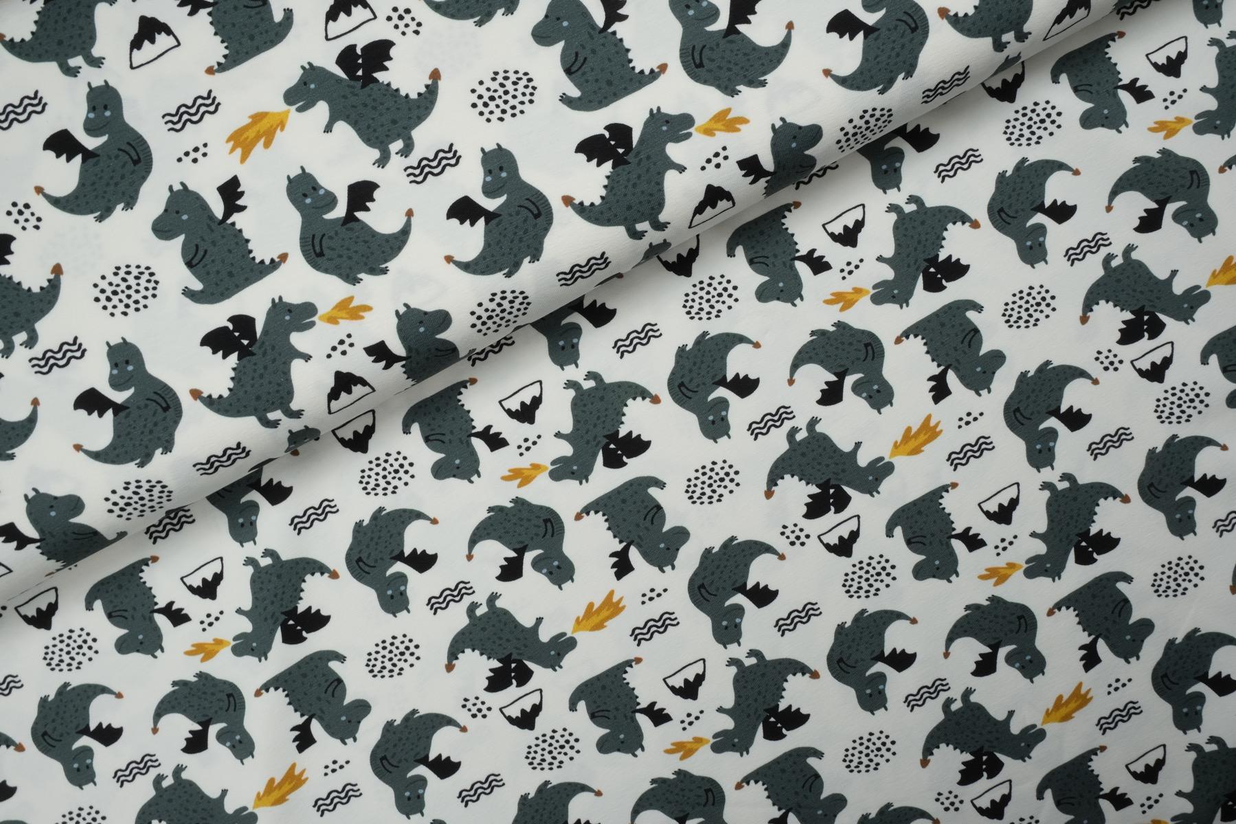 Little Dragons Tricot Wit - Megan Blue Fabrics