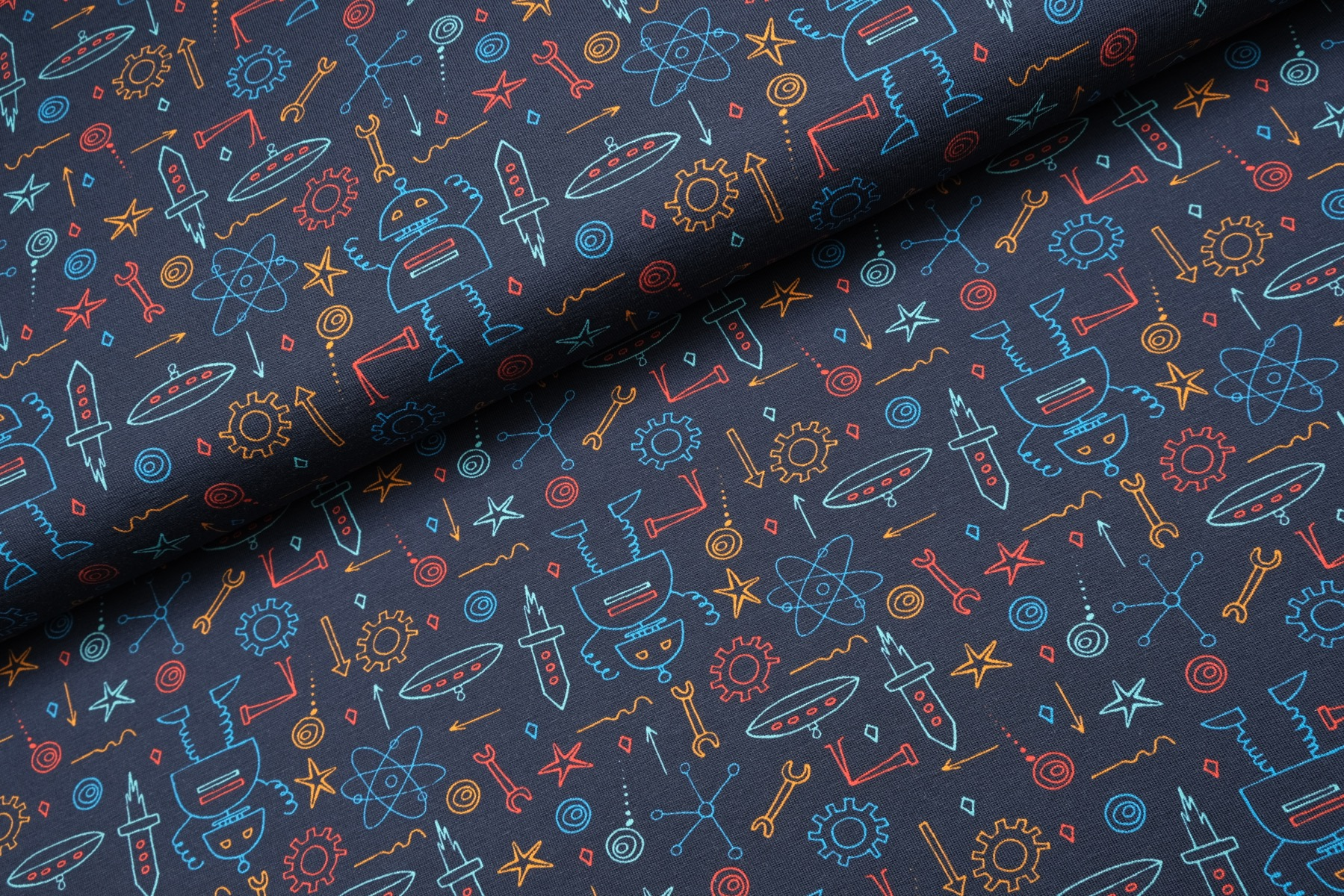 Robot Fun Tricot Navy - Megan Blue Fabrics