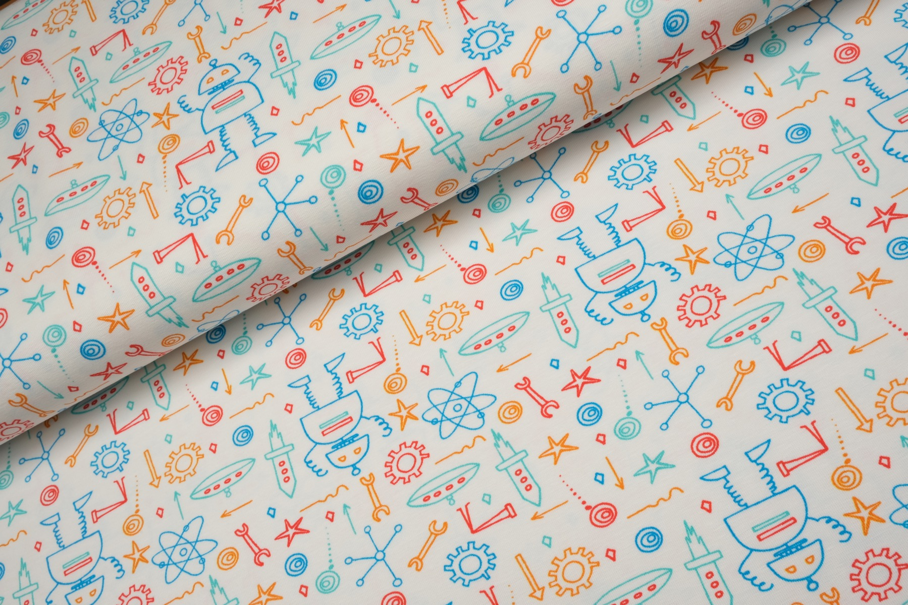 Robot Fun Tricot Wit - Megan Blue Fabrics