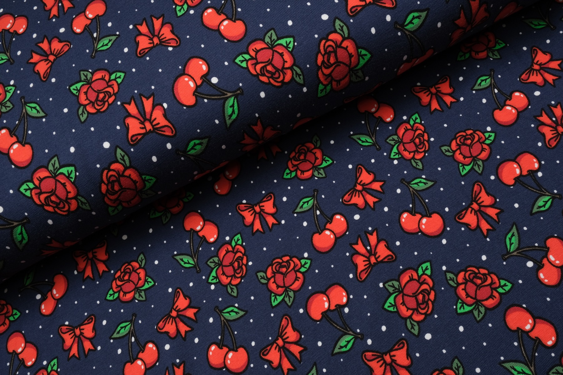 Roses and Cherries Tricot Navy - Stenzo