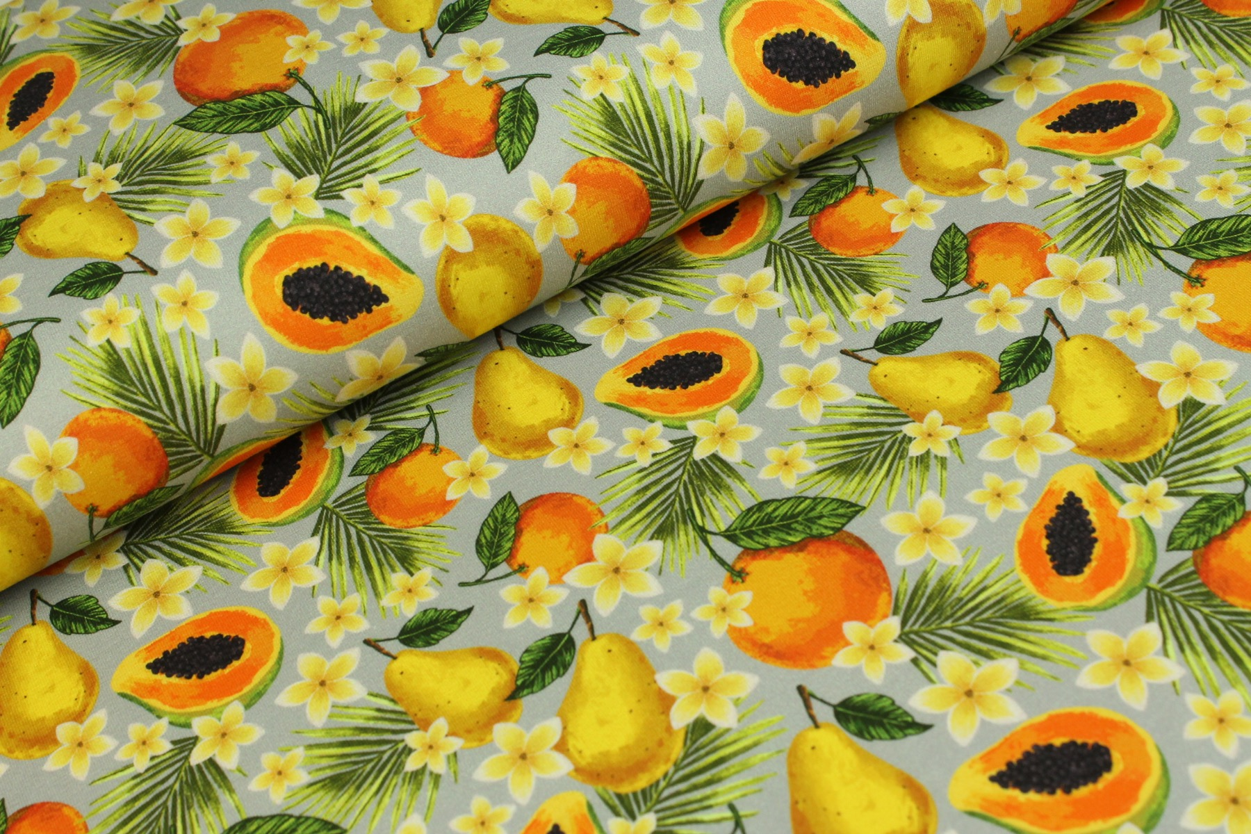 Fruit And Blossom Tricot Zilver - Megan Blue