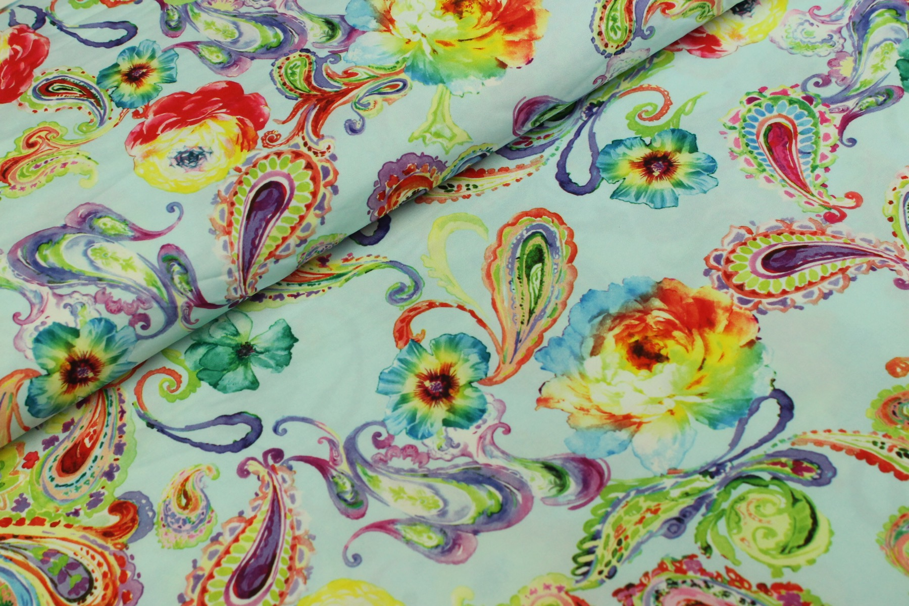 Paisley Royal Peach Stretch Blauw - Jacky Fabrics