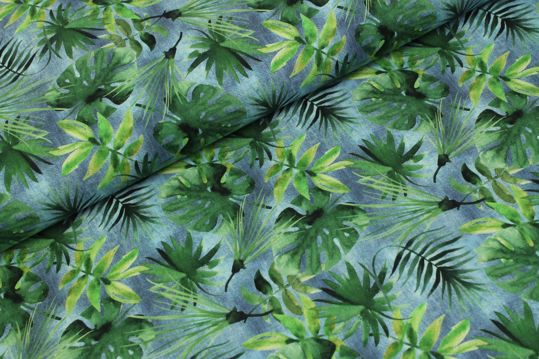 Forest Leaves Katoen Blauw - Stenzo