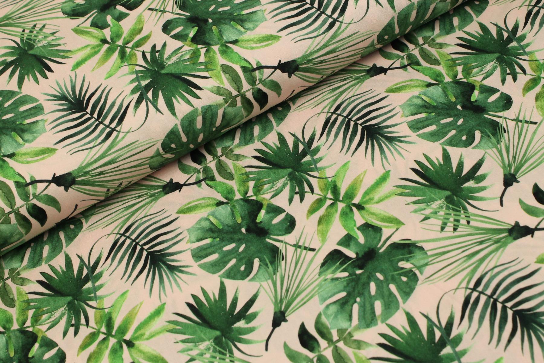 Forest Leaves Katoen Roze - Stenzo