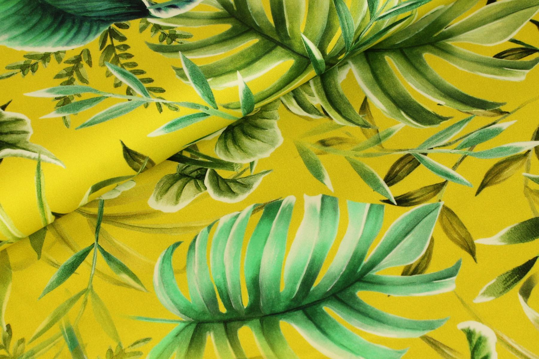 Tropics Stretch Katoen Geel