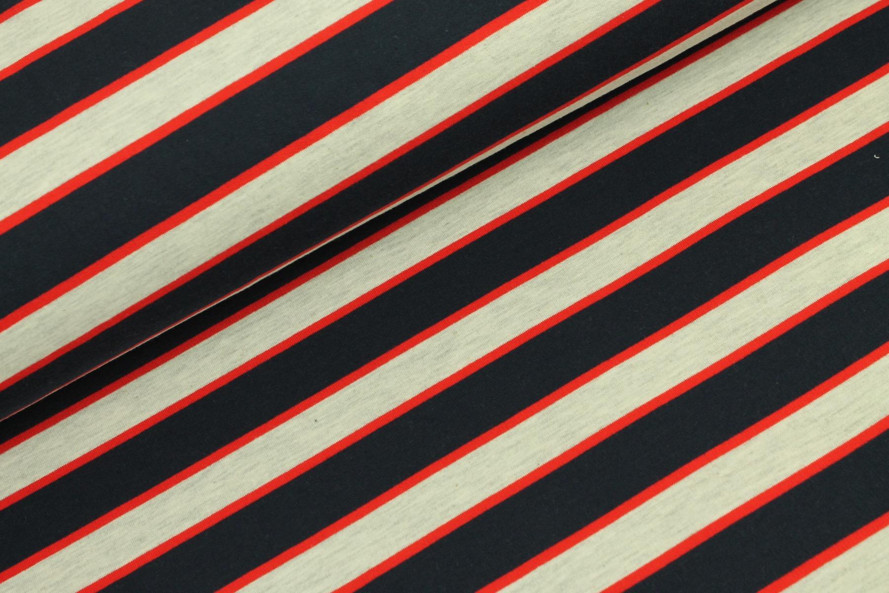 Stripes French Terry Blauw/Ecru - By Poppy