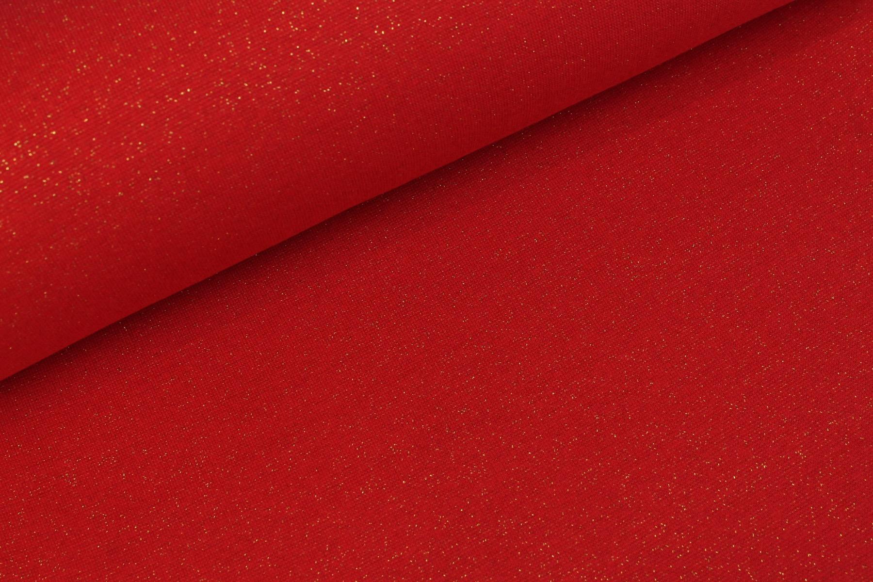 Glitter Boordstof Goud - Rood