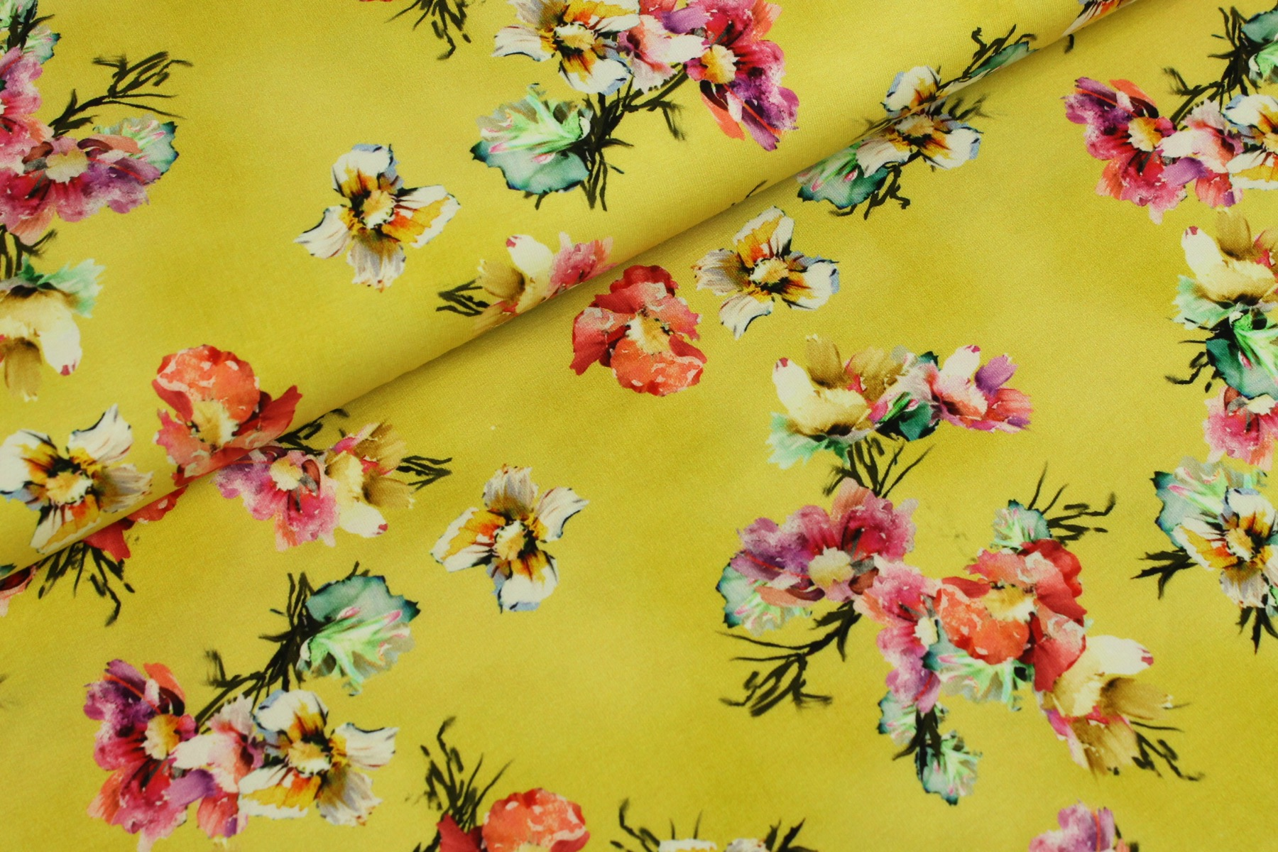 Watercolor Flower Tricot Geel - Megan Blue