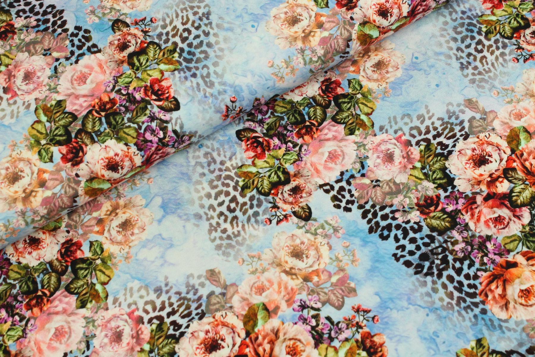 Tiger Flower Mix Tricot Blauw - Megan Blue