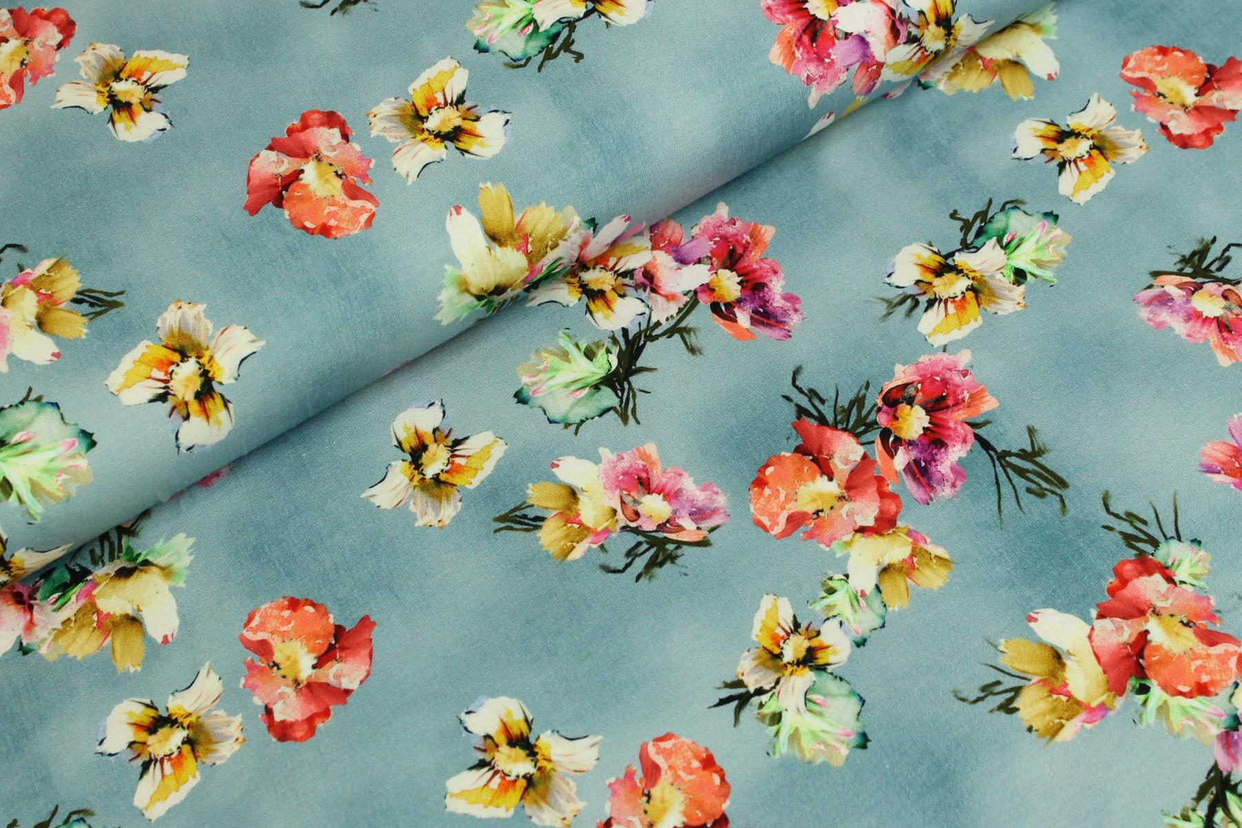 Watercolor Flower Tricot Blauw - Megan Blue