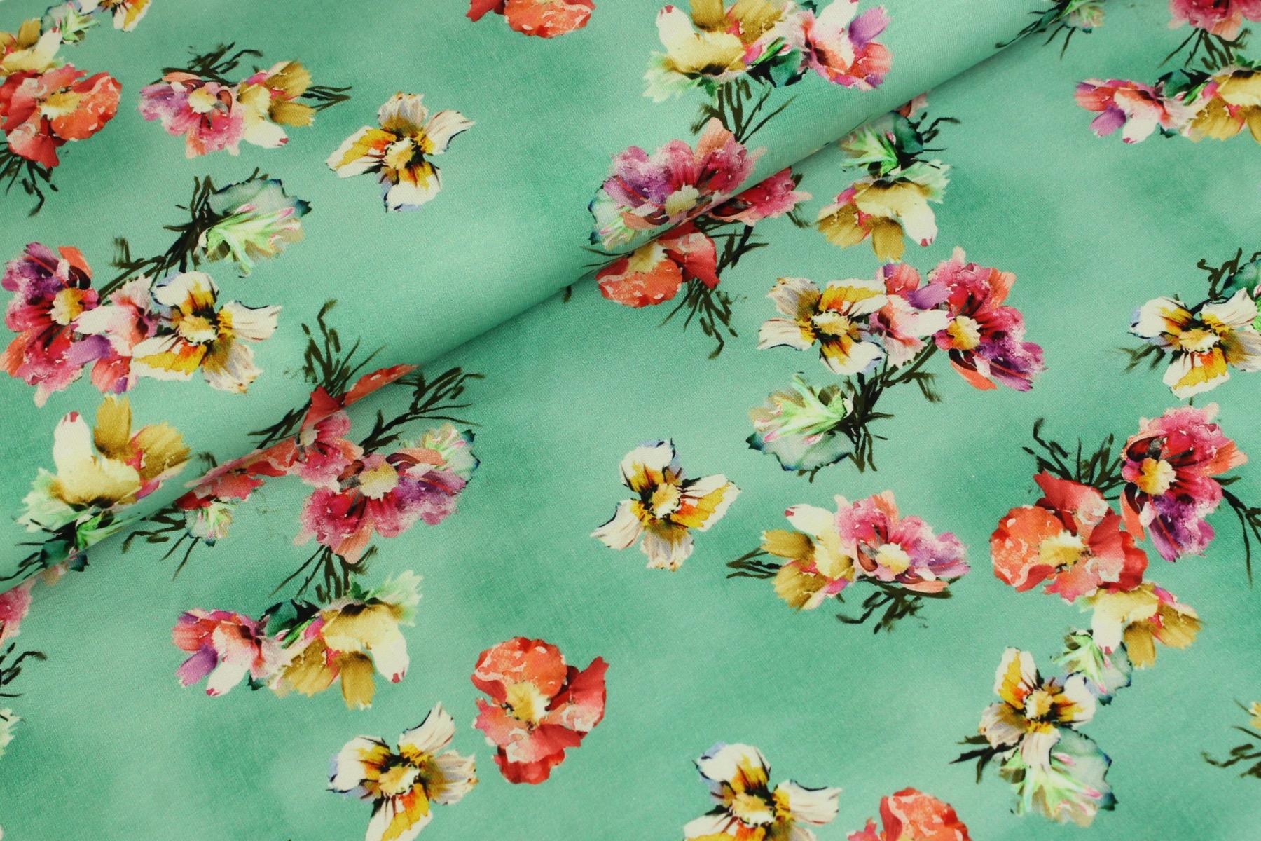 Watercolor Flower Tricot Mint - Megan Blue