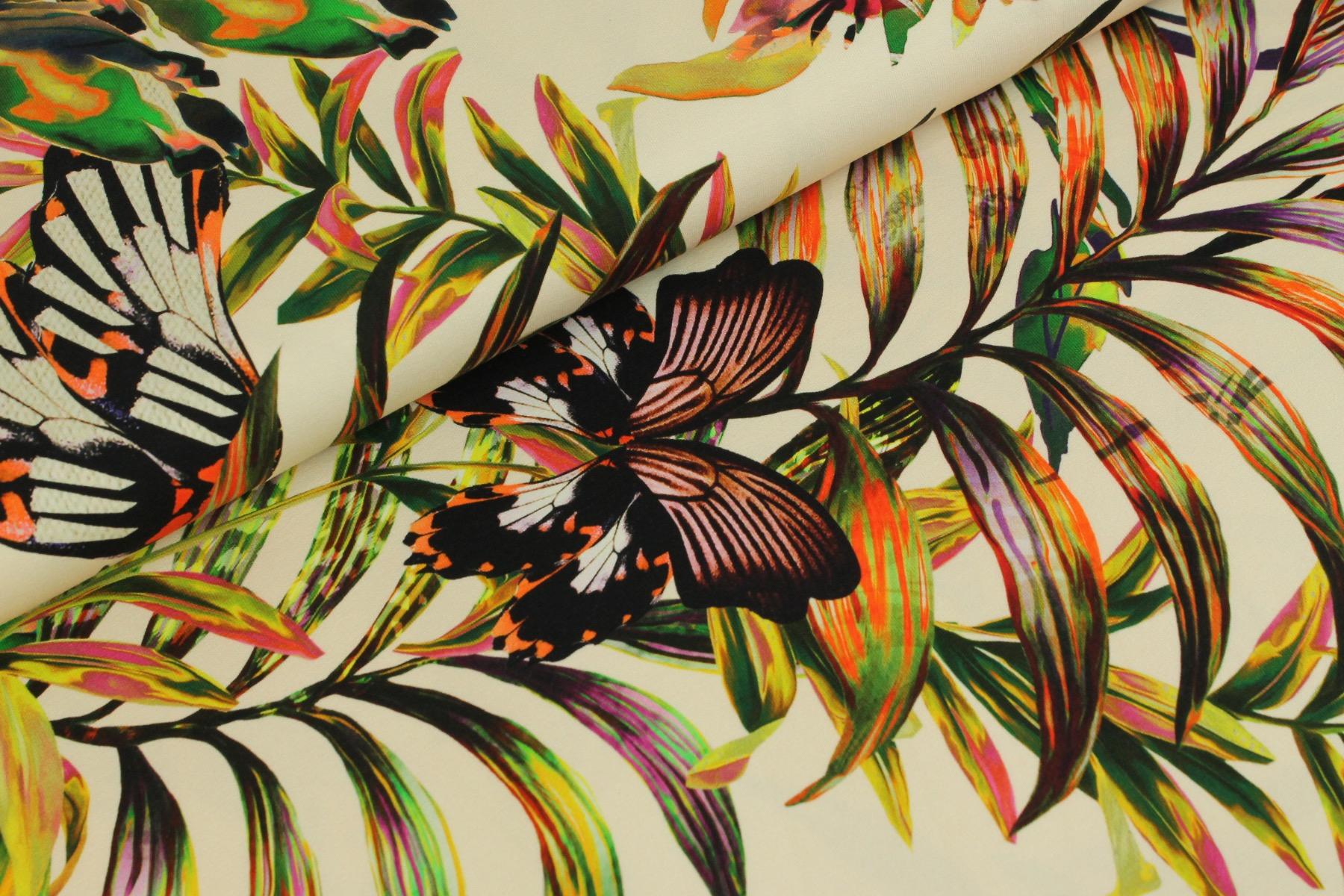 Hidden Butterflies Tricot Wit - Megan Blue