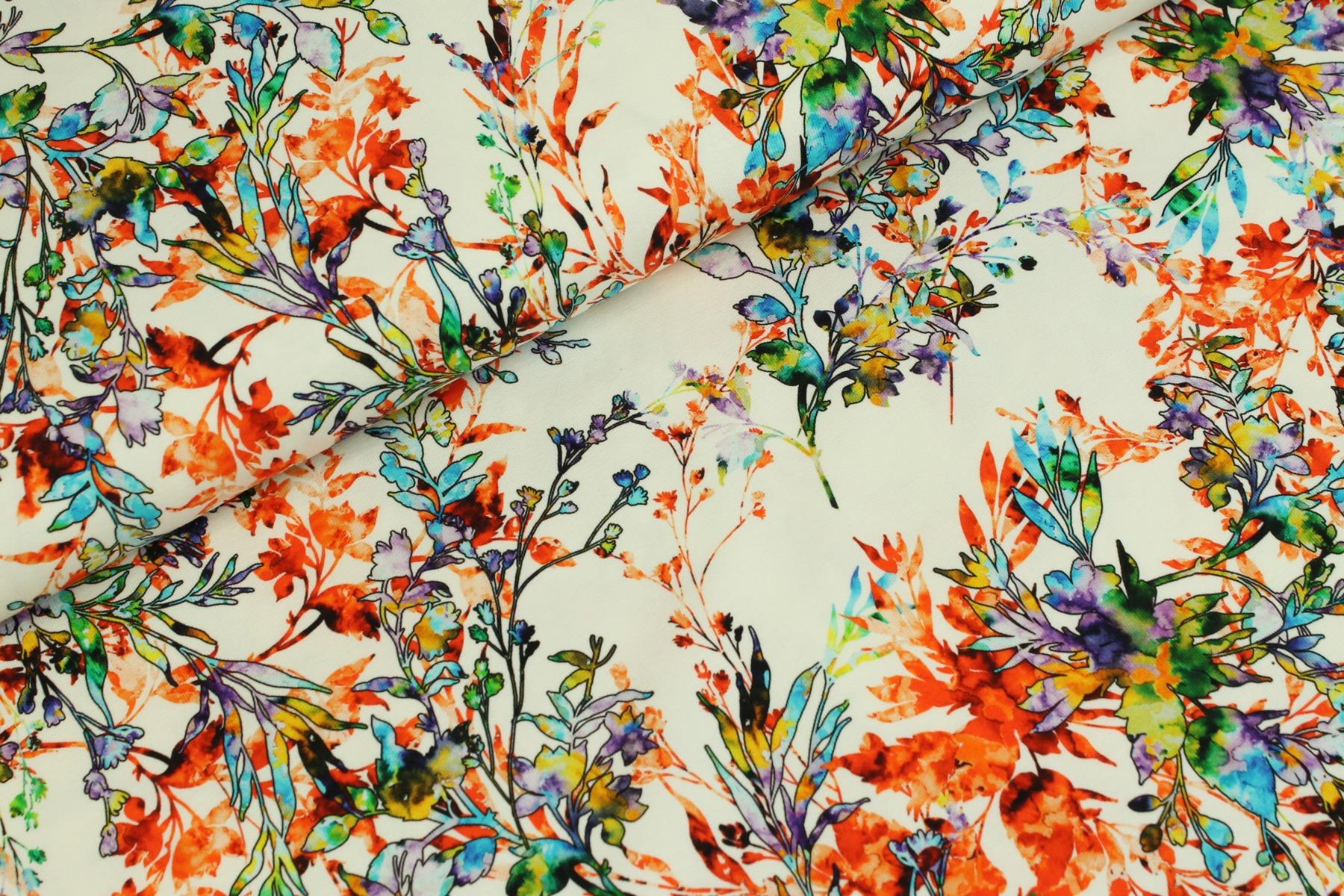 Spotty Flowers Tricot Wit - Megan Blue