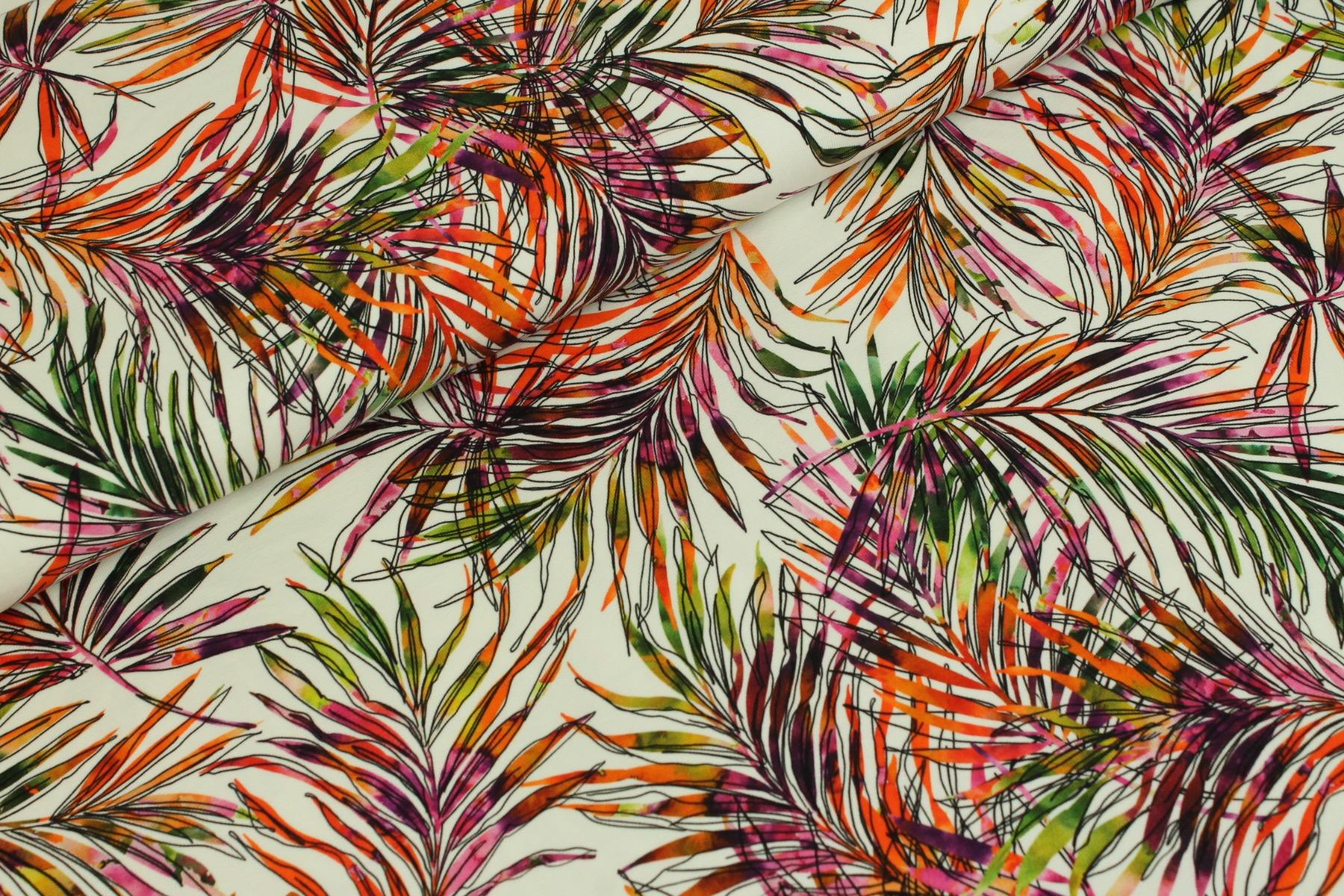 Ecoline Leaves Tricot Wit - Megan Blue