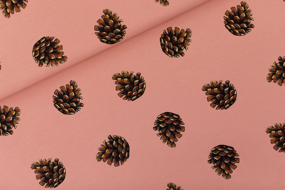 Pine Cones French Terry Brownish Pink  - See You At Six